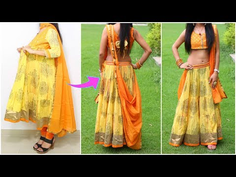 How To Convert ANARKALI into LEHNGA CHOLI - DIY, Cutting, Stitching, Lookbook | ShrutiArjunAnand
