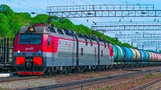 4Kᵁᴴᴰ| Railway. Russian freight trains on the Trans-Siberian Railway / Грузовые поезда на Транссибе