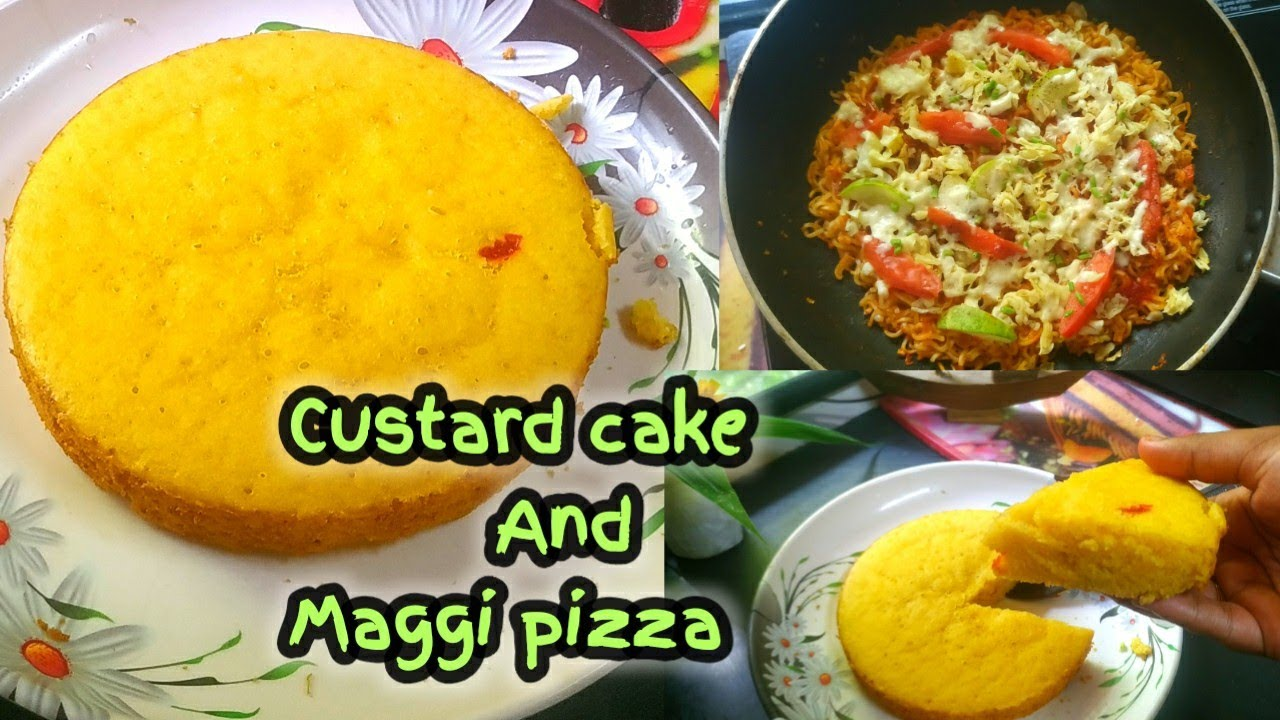 custard cake recipe without oven and eggs/plain sponge cake recipe/Custard powder cake / Maggi pizza