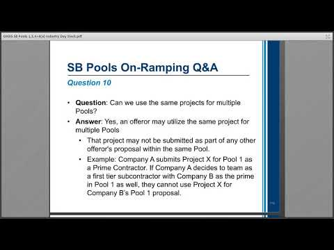 OASIS SB Pool 1, 3, 4 and OASIS 8(a) On-Ramp - Q&A - YouTube