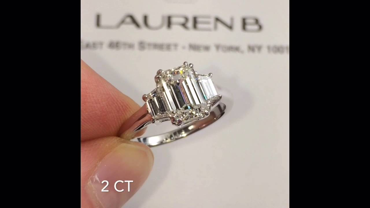 2 Carat Emerald Cut 3 Stone Engagement Ring Youtube