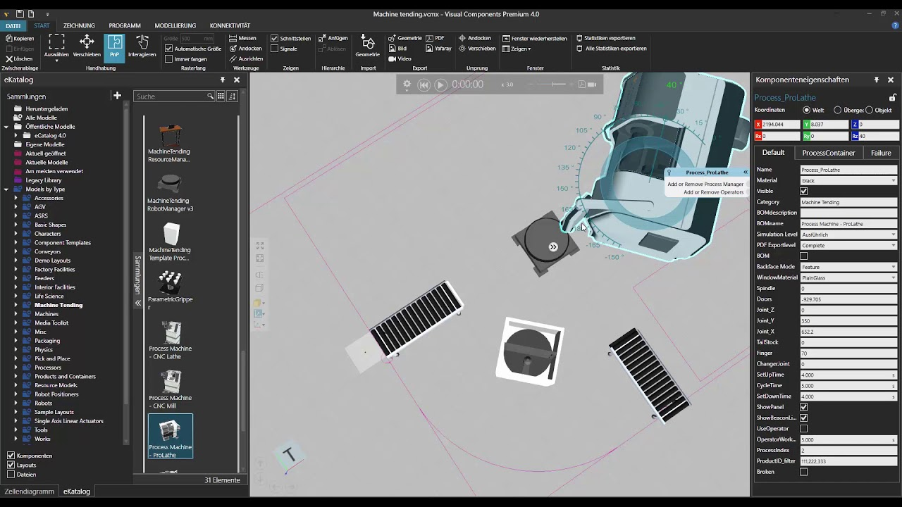 3D Factory Simulation Software | Material flow | Robot