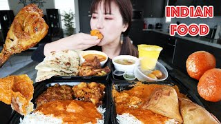 INDIAN FOOD MUKBANG 먹방 EATING WITH HANDS (Tandoori Chicken & Tikka Masala, Gulab Jamun, Mango Lassi)