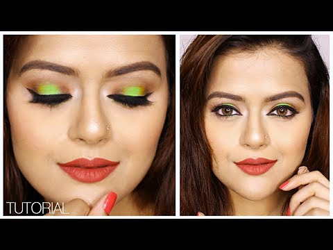 Neon Green Eyeshadow Summer Party Makeup Tutorial