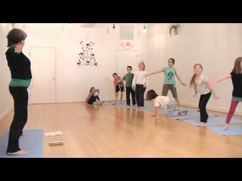 half moon pose yoga class for children  youtube