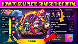 how to complete charge the Portal event in free fire in tamil/ how to get free gun skin in free fire