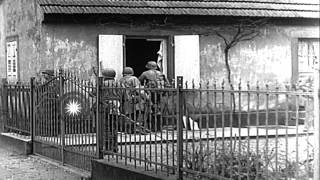 US troops enter Haguenau, France, and search for German snipers during World War ...HD Stock Footage