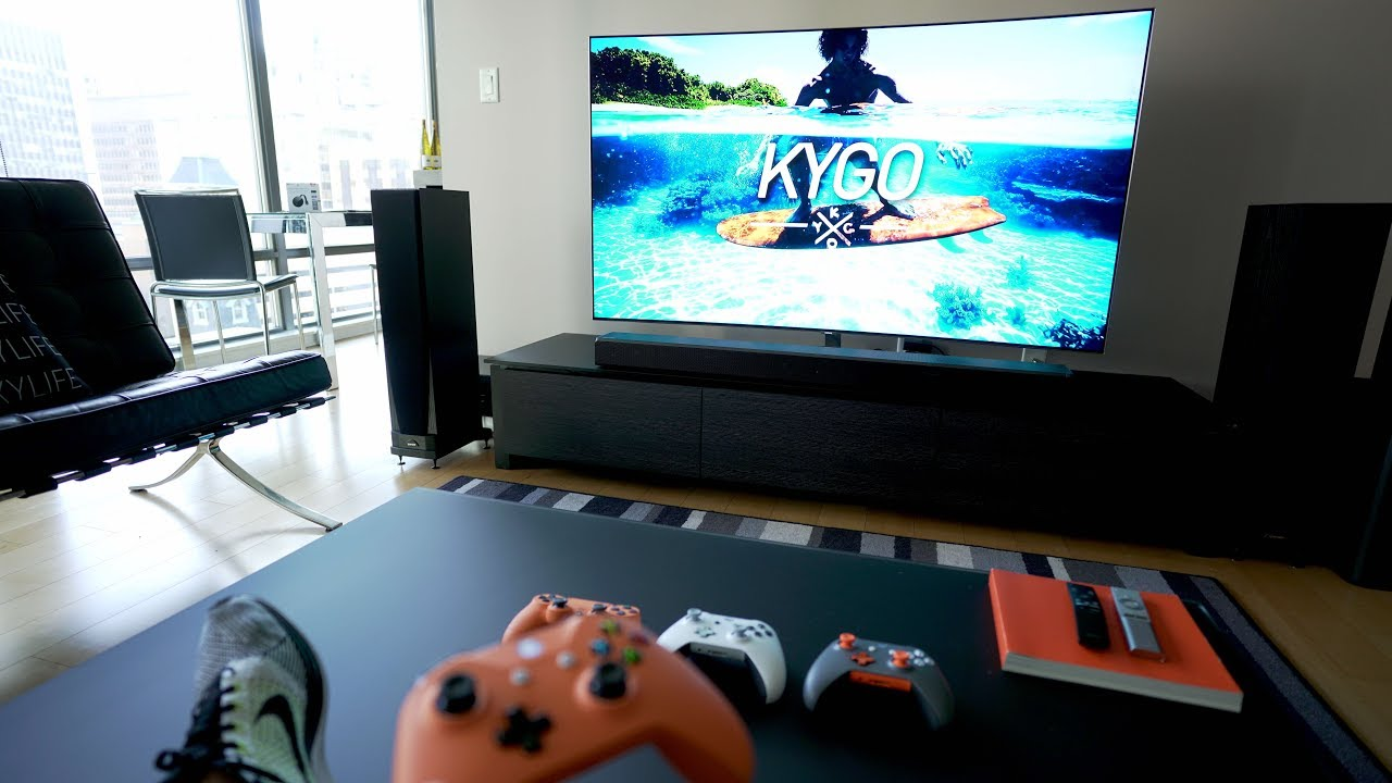 The Ultimate 4K TV SETUP   Tech Living Room Tour 2017