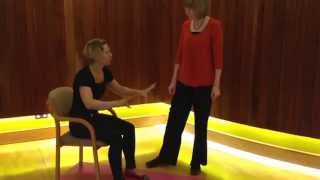 How to assist sit to stand, weight transference, correct foot position, head, shoulders and arms.