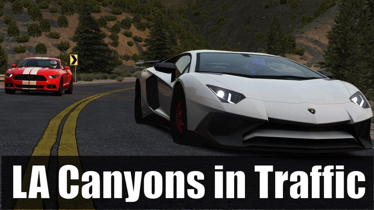 LA Canyons Lamborghini Run in Traffic! (Assetto Corsa)