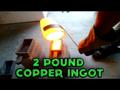 Making 2 Pound Copper Ingot From Scrap Copper Using Metal Melting Furnace