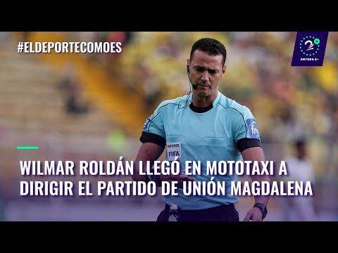 Wilmar Roldán llegó en mototaxi a dirigir el partido de Unión Magdalena