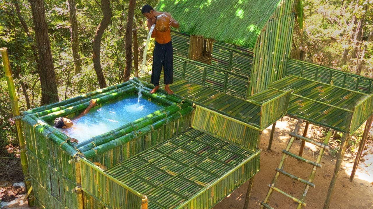 Build Beautiful Bamboo Swimming Pools On Three-Story BambooHouse