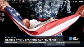 Newborn wrapped in American flag sparks controversy