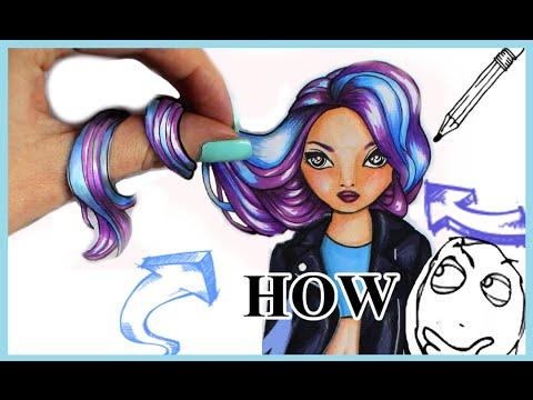 Topmodel Malbuch | How to draw 3D Effect Hair | Copics || Foxy Draws