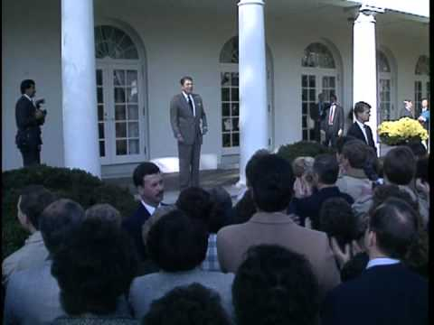 President Ronald Reagan Celebrates 1988 Bush Win with WH Staff in the Rose Garden