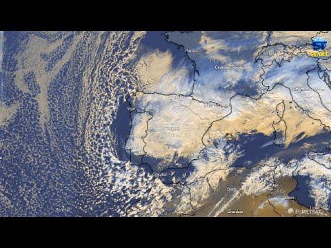 Massive cloud crescent appears via satellite around Spain during storm Filomena