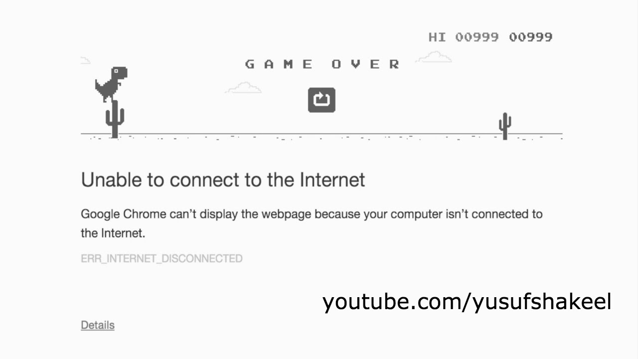 Google Chrome Offline Dinosaur Game My Score 999 Youtube
