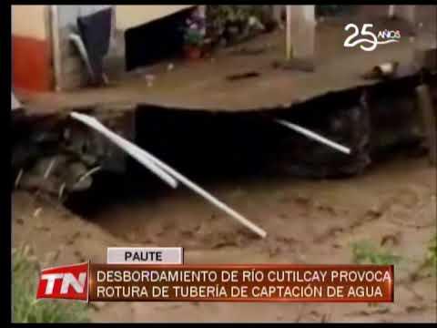 Desbordamiento de Río Cutilcay provoca rotura de tubería de captación de agua