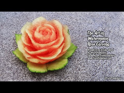 The Art in Watermelon Rose Carving – How to Carve Watermelon Flower *DIY