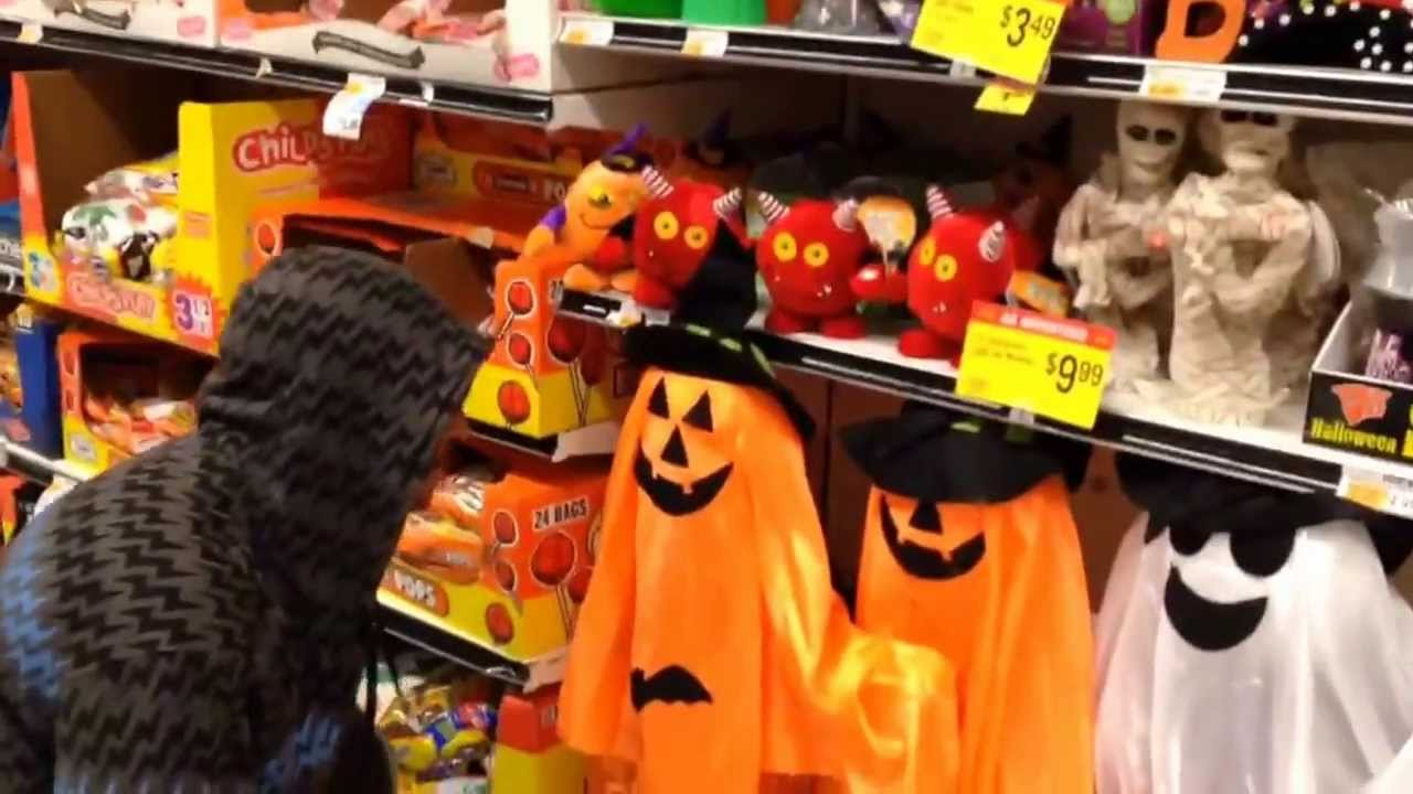 halloween pranks angry black man destroys halloween decorations at grocery store funny