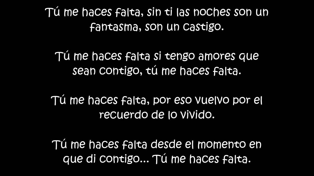 Letra Tu Me Haces Falta De Eddie Santiago Elvis Crespo