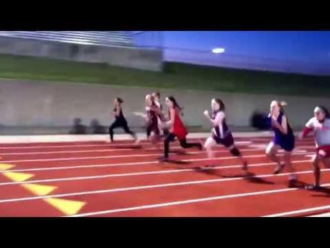 Tara Strickland running hurdles-Palestine middle school