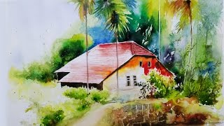 Watercolor painting tutorial for beginners landscape village forest house on paper by Nihar Debnath