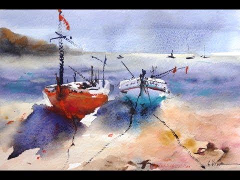 Watercolor Demo Acuarela marina botes Fernando Pena boats marine sketch