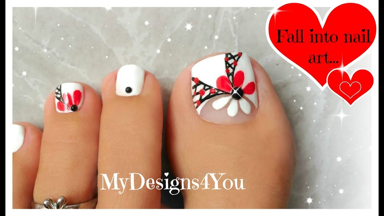 Floral Toenail Art Tutorial | Summer Pedicure ♥ - YouTube