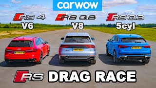 Audi RSQ8 vs RS4 vs RSQ3: DRAG RACE *V8 vs V6 vs 5cyl*