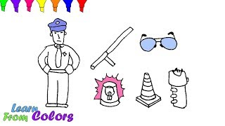 How To Draw Police Set For Kids Coloring Pages Kit Security