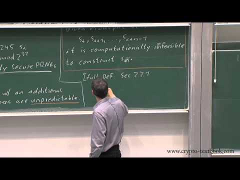 Lecture 3: Stream Ciphers, Random Numbers and the One Time Pad by Christof Paar