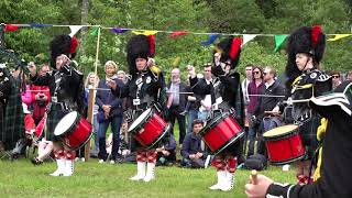 'Going Home' medley by the Lonach Pipe Band at Drumtochty Highland Games in Aberdeenshire Scotland