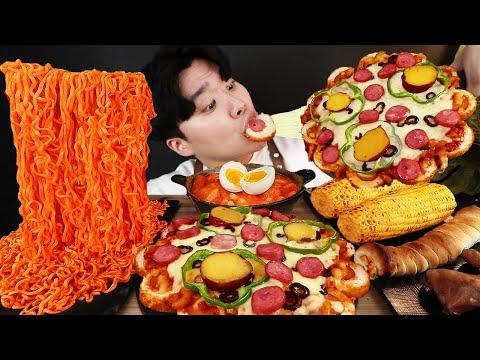 eng-sub)-asmr-mukbang-fire-noodle-&-hot-dog-&-cheese-pizza-&-tteokbokki-eating-sound-!-(buldak)
