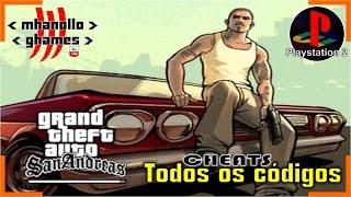Playstation 2: GTA San Andreas: Todos os códigos.