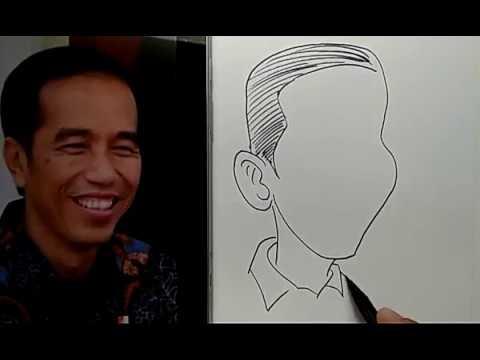 Cara Menggambar Karikatur Jokowi Wow Banget Youtube