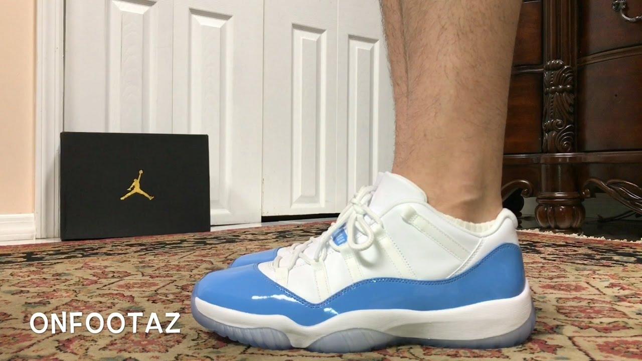 2e76ea793be Air Jordan 11 XI Low University Blue UNC 2017 On Foot - YouTube