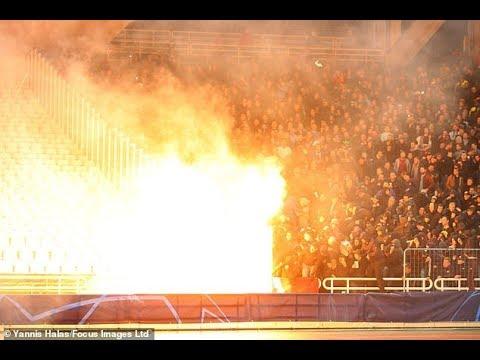 Petrol bomb explodes amid bloody clashes ahead of Ajax vs AEK Athens