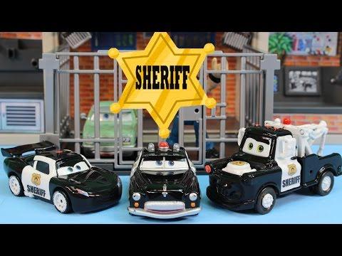 Disney Pixar Cars Sheriff Car Lightning McQueen Mater Battle Imaginext Mohawk Dude Jail Robot