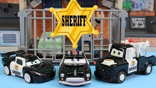 Disney Pixar Cars Sheriff Car Lightning McQueen Mater Battle Imaginext Mohawk Dude Jail Robot thumbnail