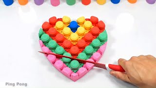 play Kinetic Sand how to make rainbow heart cake funny toy for kids