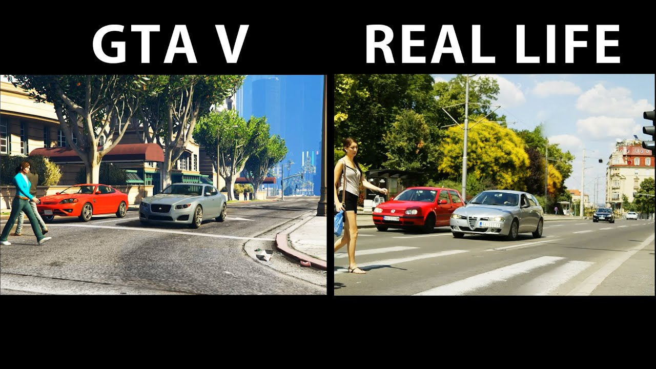 GTA V Vs Real Life Side By Side Part 1 YouTube