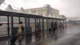 Downpours at Marittima Cruise Terminal in Venice, Italy: 23 August 2014