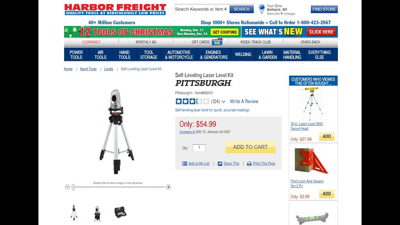 Pittsburgh Self Leveling Laser Level Harbor Freight Youtube