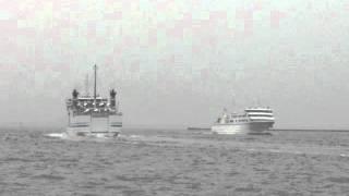 九州郵船フェリー「ニューつしま」と野母商船フェリー「太古」