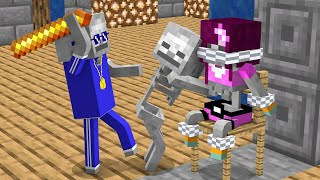 Monster School : Skeleton girl and boy - Funny Minecraft Animation