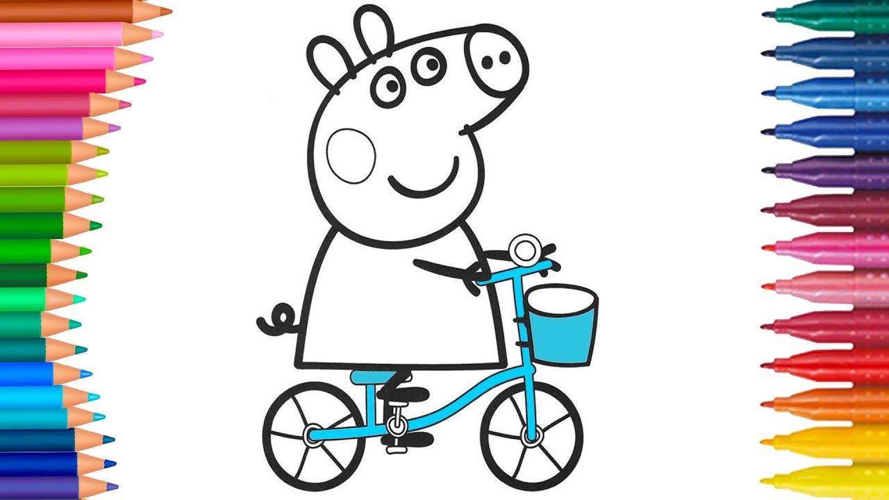 Peppa Wutz Fahrrad Ausmalbilder Färbung Kleine Hände Malbuch