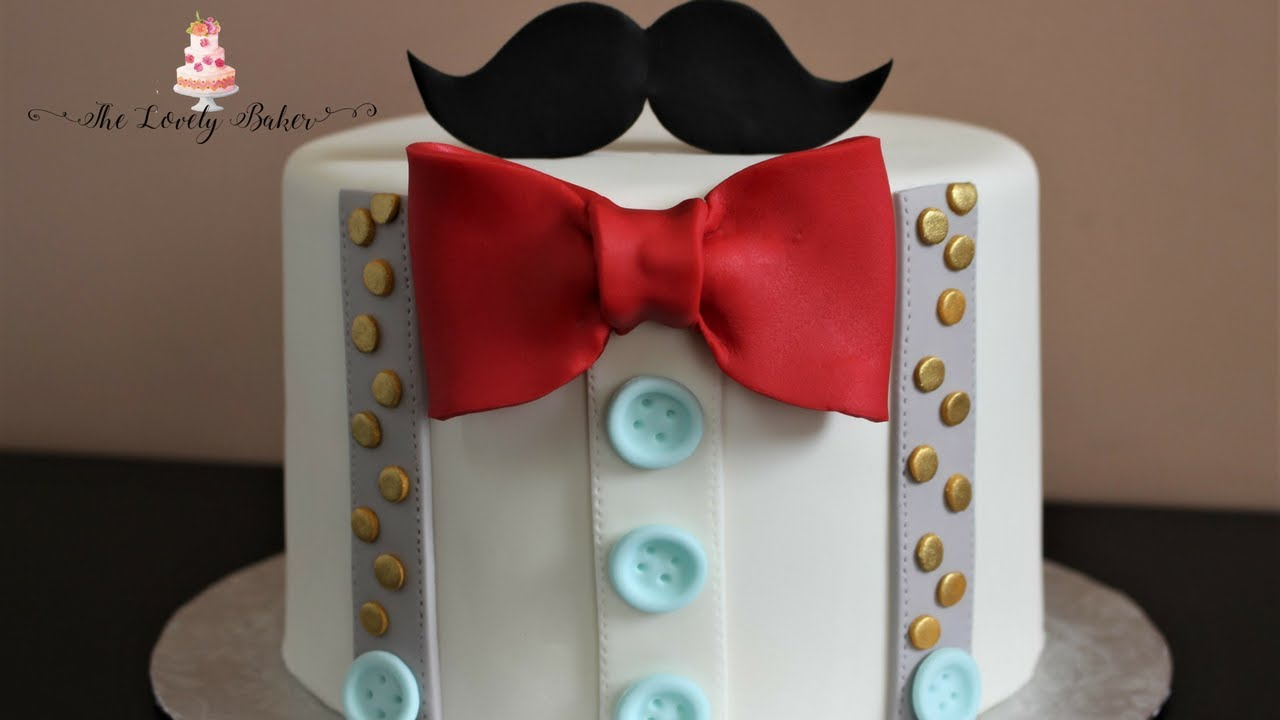 Fathers Day Gentlemens Bow Tie Mustache Cake Tutorial YouTube