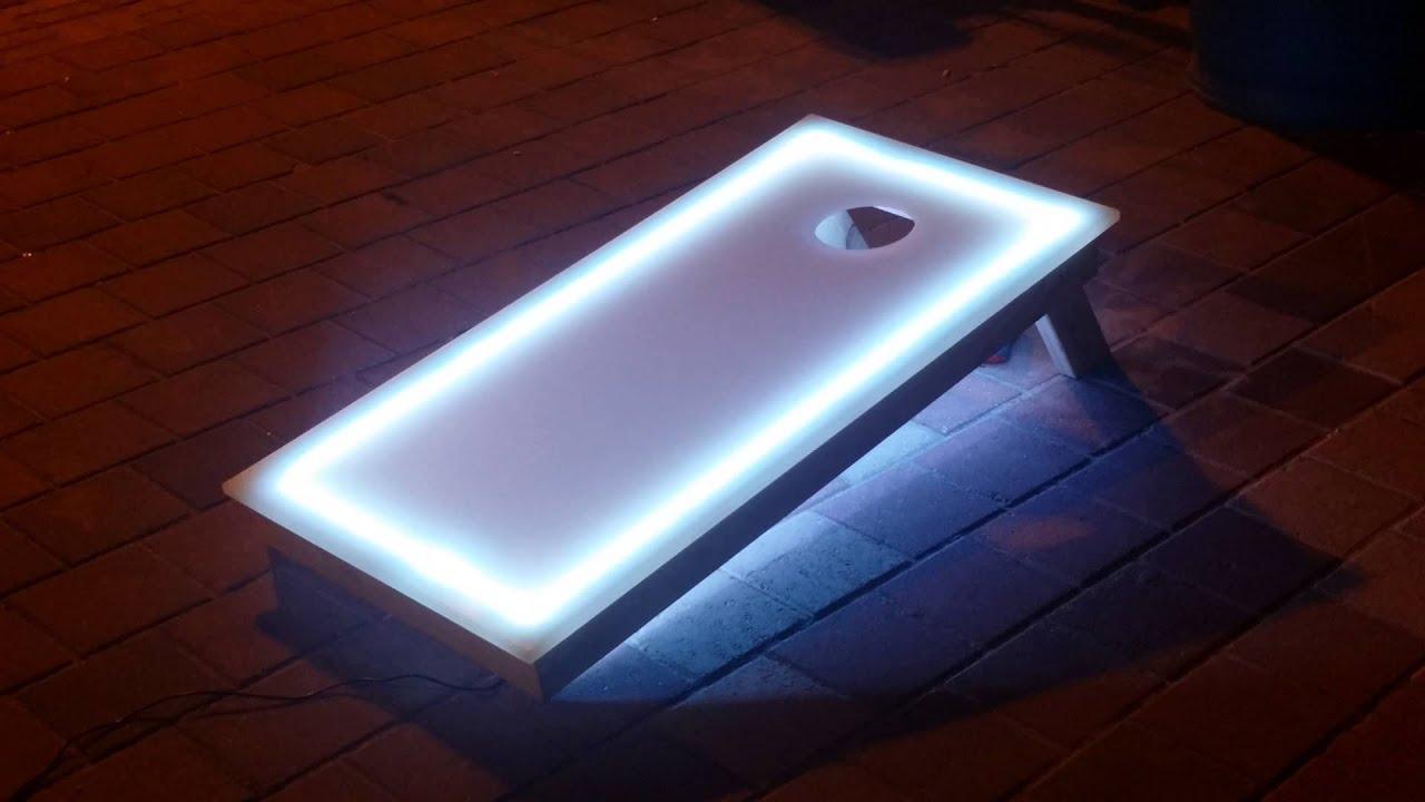 Lighted cornhole boards com youtube
